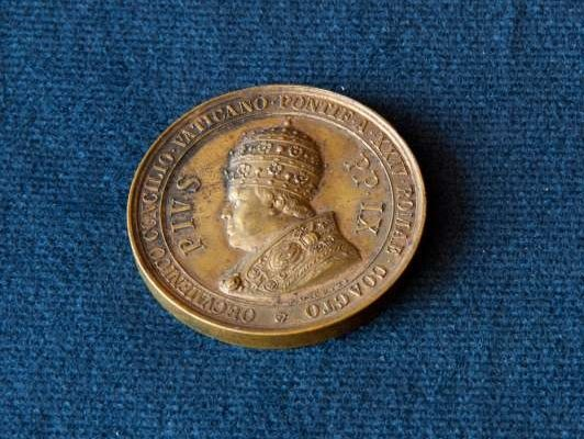 Bronze Medal from 1870 With Image of Blessed  Pius IX