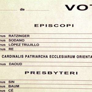 Closeup of Cardinal Ratzinger's Name on the Ballot