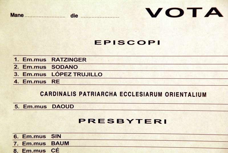 Closeup of Cardinal Ratzinger's Name on the Ballot