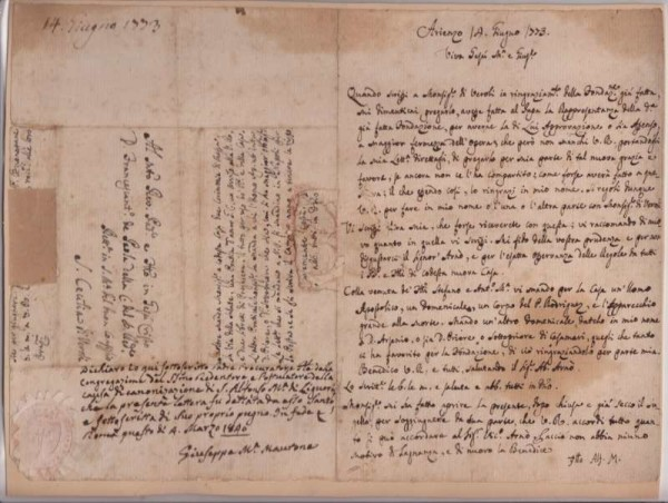 Letter, Dated 1773, Signed by St. Alphonsus de Liguori