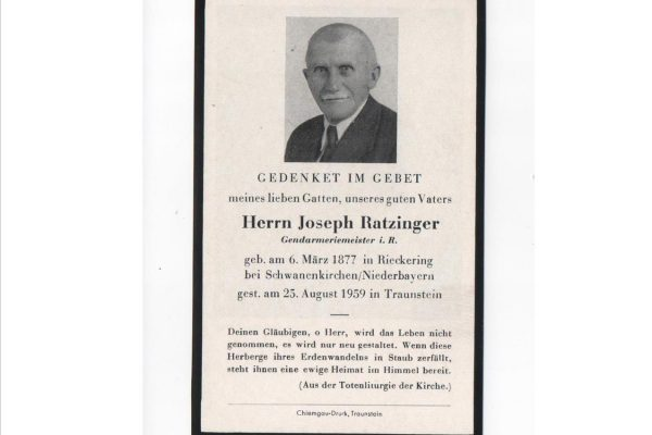 Funerary Card for Pope Benedict XVI's Father,  Herrn Joseph Ratzinger