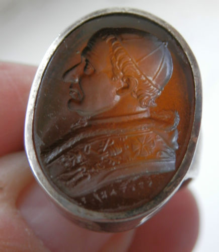 Cornelian Intaglio Signet Ring with an image of Pope Gregory XVI