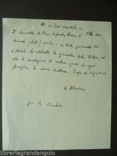 Autograph of Blessed James Alberione