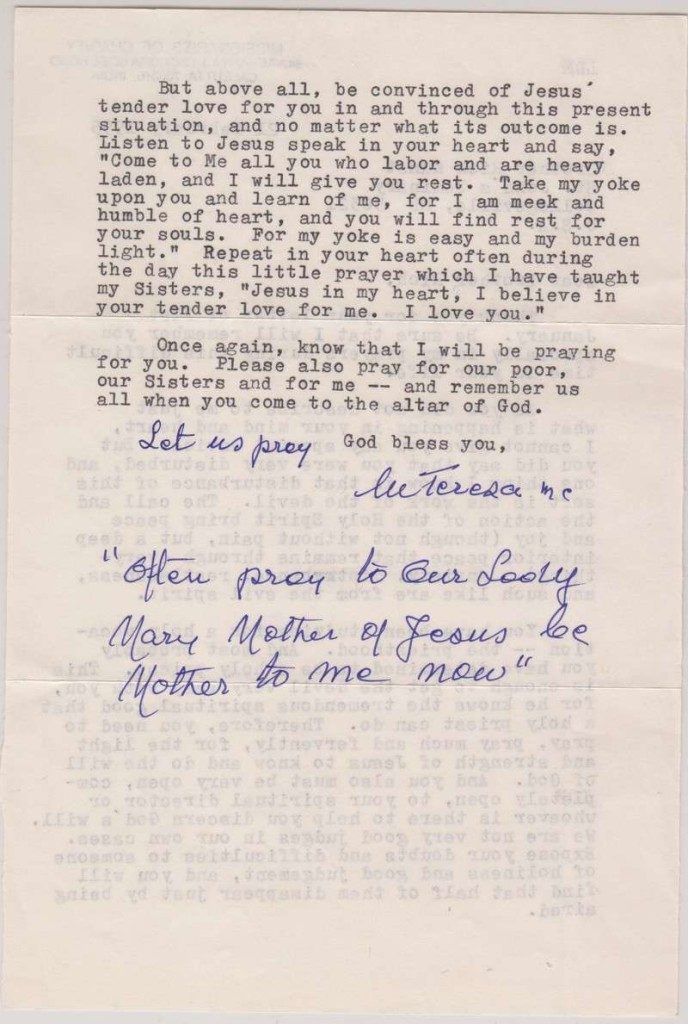 Letter From Blessed Mother Teresa of Calcutta to Father Richard Kunst, Dated 1995 (page 2)