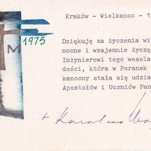 Signed Easter Card from Cardinal Karol Wojtyla