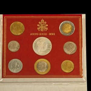 2001 Coin Set With the Images of Pope Pius IX, Pope Pius XI, Pope Pius XII, Saint John XXIII, Pope Paul VI, Pope John Paul I and Saint John Paul II