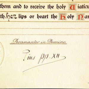 Ornate Blessing Signed as Pope Pius XII