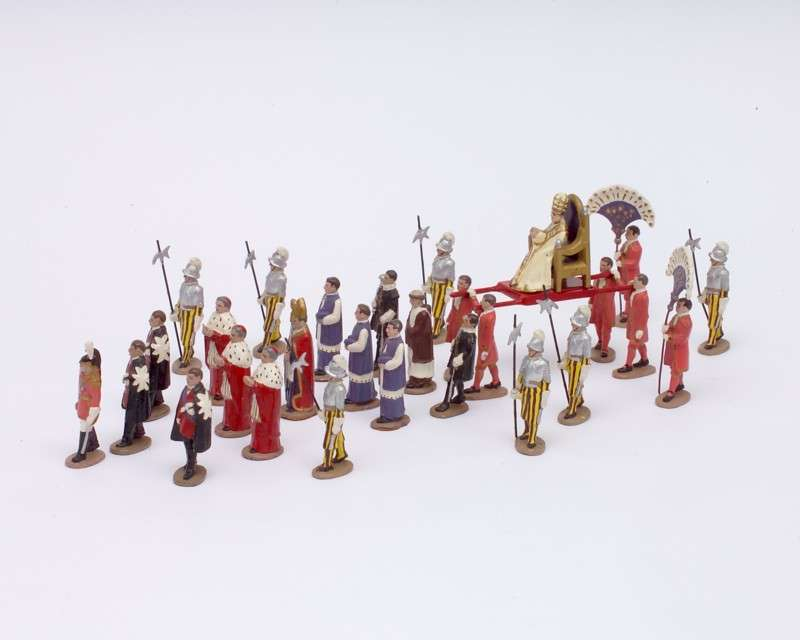 Thirty-Piece Lead Toy Set of a Papal Procession