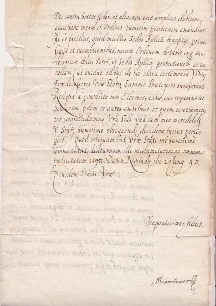 Letter from King of Poland, Maximillian of Austria, to Pope Clement VIII, Dated June 20, 1593