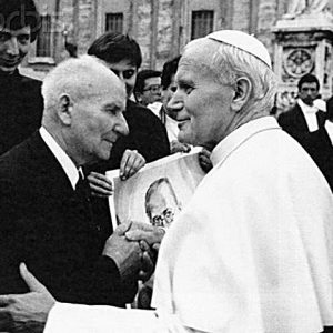 Pope John Paul II & Franciszek Gajowniczek at the Canonization of Maximilian Kolbe, 1982