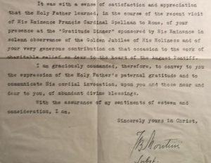 Montini 1949 Letter: Close up of Signature