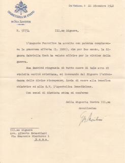 Pope Paul VI: Letter as Giovanni Montini