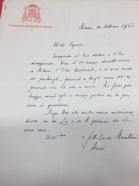 Montini Letter from Milan February 1960