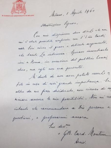 Pope Paul VI: A Letter of Giovanni Montin