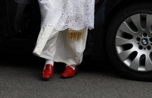 Pope Benedict XVI in London, 2010--an example of modern papal red shoes.