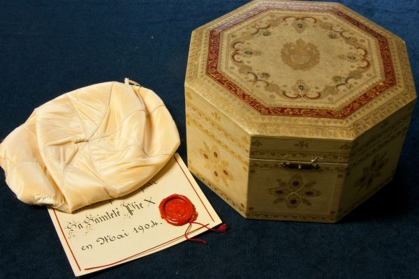 Pope St. Pius X: A Zucchetto in a Decorative Box
