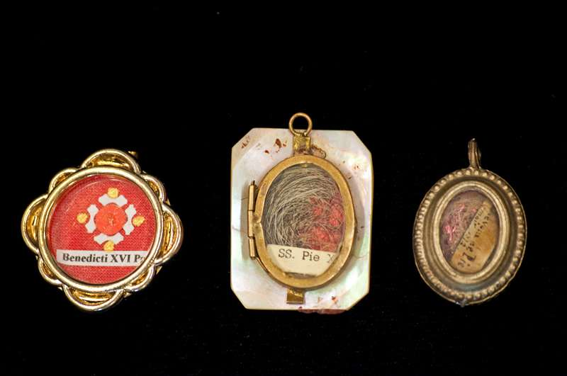 Reliquary of Blessed Pius IX's Hair is on the Right
