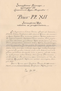 A Letter to Prince George II Signed by Pope Pius XII