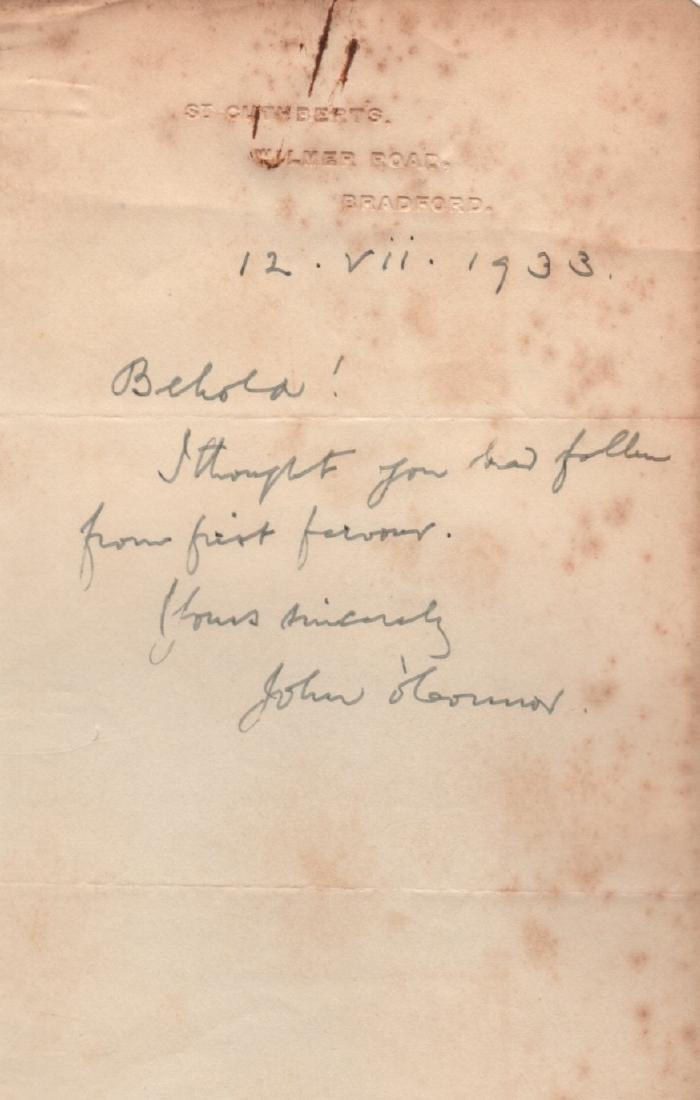 Monsignor John OConnor Letter of July 12, 1933