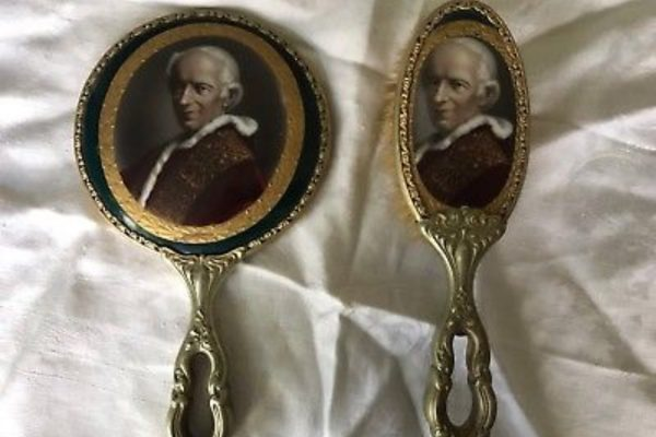 Pope Leo XIII: Vintage Mirror & Brush Set  with His Image