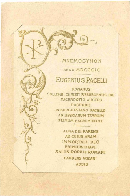 Pope Pius Xii The 1899 Holy Card From His Ordination To