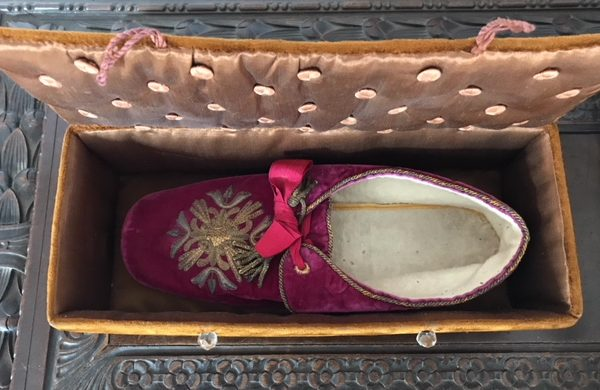 Pope Leo XIII: A Hand-Made Papal Slipper in a Decorative Box