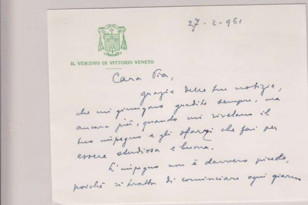 Notecard Written on Both Sides to Albino Luciani's Niece