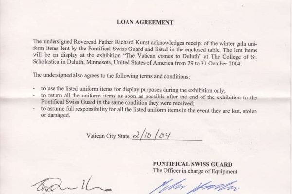 Two letters of Agreement Between Father Richard Kunst and Commandant Elmar Mader of the Swiss Guard