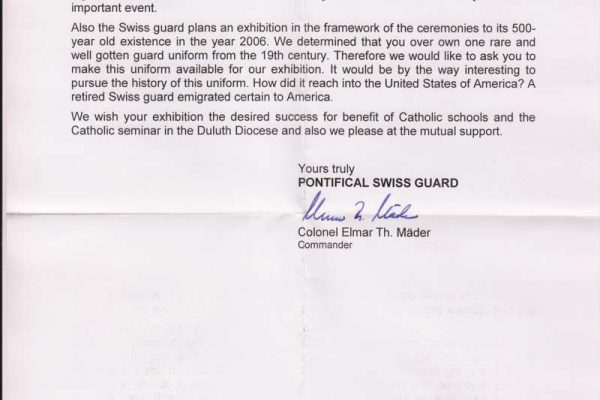 Letter of Agreement Between Father Richard Kunst and Commandant Elmar Mader of the Swiss Guard