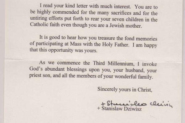Letter to Dorothy Kunst from Bishop Stanislaus Dziwisz, Secretary to Pope John Paul II