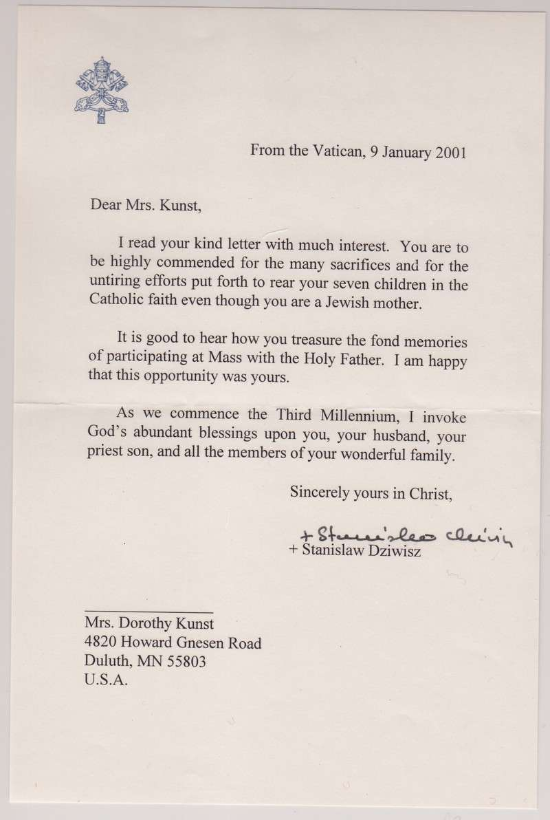 Letter to Dorothy Kunst from Bishop Stanislaus Dziwisz, Secretary to Pope John Paul II
