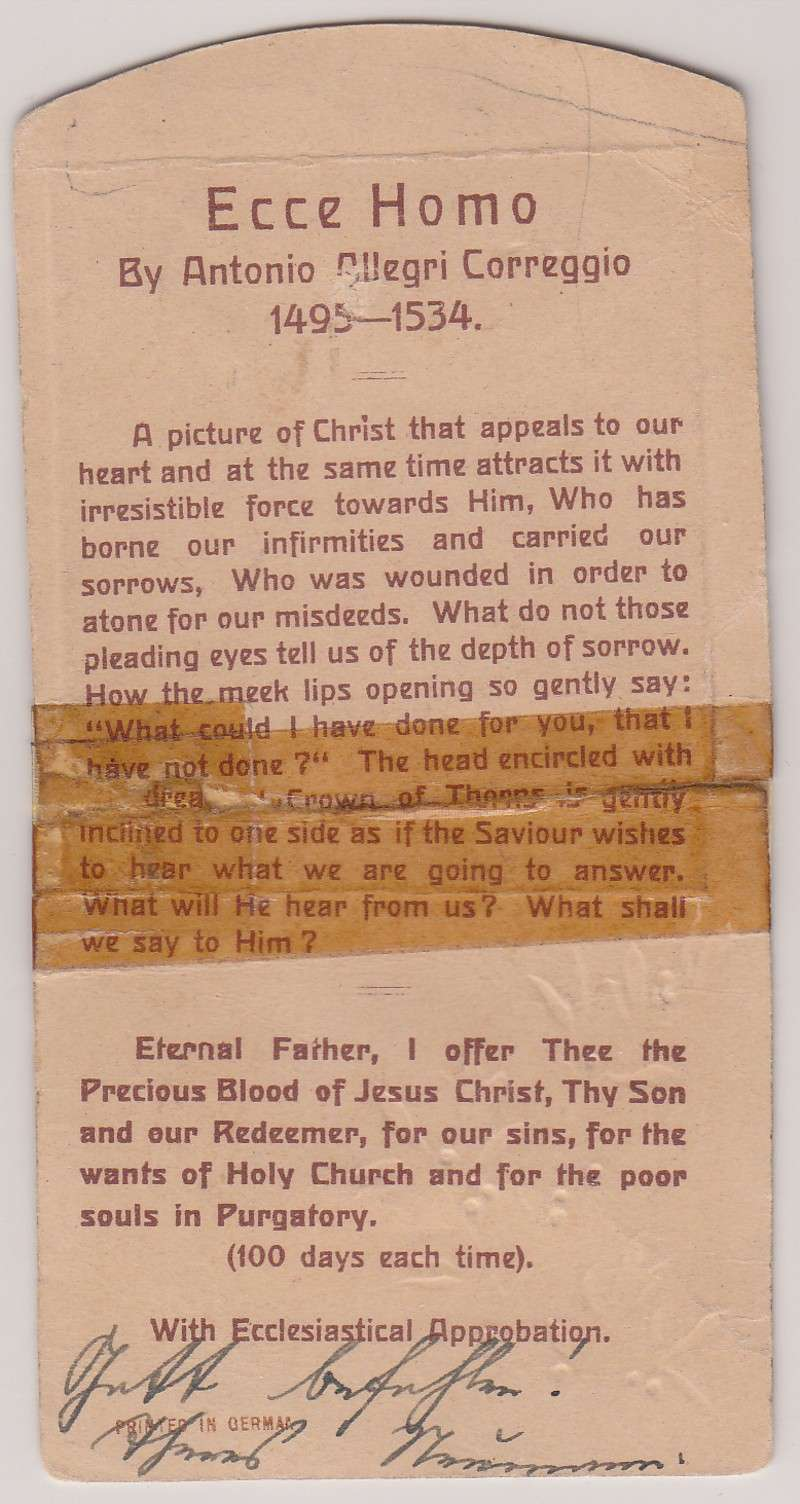 Holy Card Signed by Venerable Therese Neumann (signature)