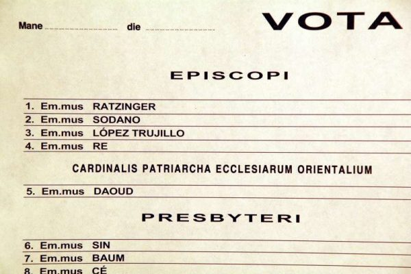 Pope Benedict XVI: Scrutiny Ballot From the 2005 Conclave