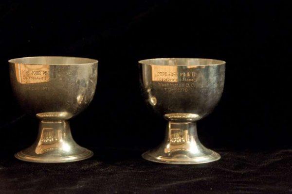 Pope John Paul II: Two Small Silver Ciboria Used in Washington D.C., 1979