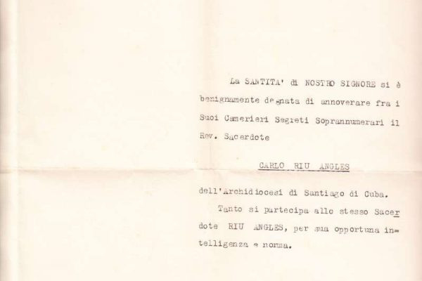 Untranslated Letters to a Cuban Bishop Signed by Pope Paul VI as Sostituto