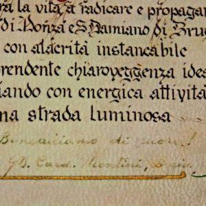 An Illuminated Manuscript Signed by Archbishop Giovanni Battista Montini Dated June 10, 1961 (signature)
