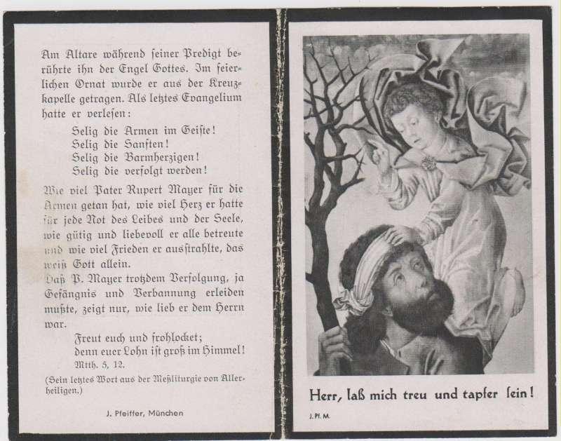 Blessed Rupert Mayer: A Funerary Card