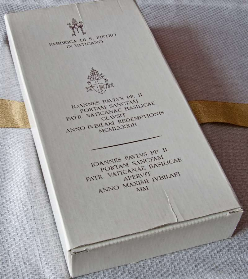 Carton Containing Brick of the Holy Door of St. Peter's Basilica from the Holy Year, 2000