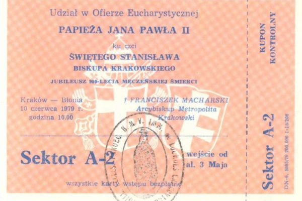Ticket to a Papal Mass in Krakow  with  Pope Saint John Paul II, 1979
