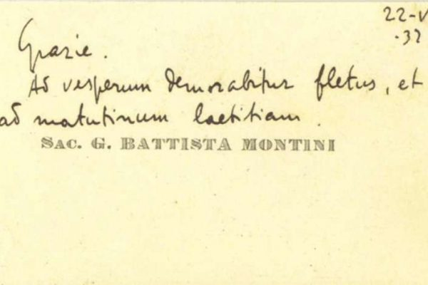 Note of Thanks on a Calling Card from Pope Paul VI as Priest