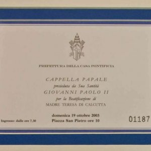 Ticket to the October 19, 2003 Beatification of Mother Teresa