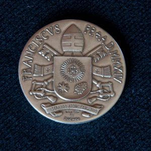 Bronze and Silver Medals of Saint John Paul II & Saint John XXIII with Pope Francis' Coat of Arms on Back