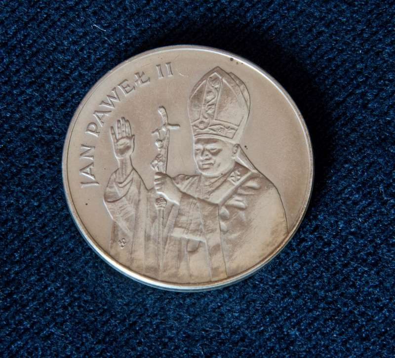 Polish Silver Coin from 1983 with an Image of Pope John Paul II: A Zlotych