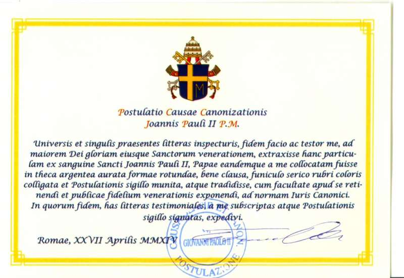 Document Authenticating the Relic of Saint John Paul II