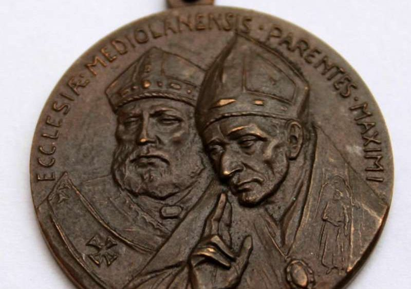 Bronze Medal Depicting Two Milanese Cardinals: Saints Ambrose and Charles Borromeo and the Coat of Arms of Pope Paul VI