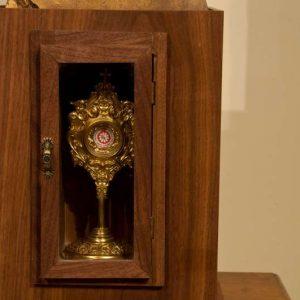 Reliquary of Saint John Paul II in the cabinet