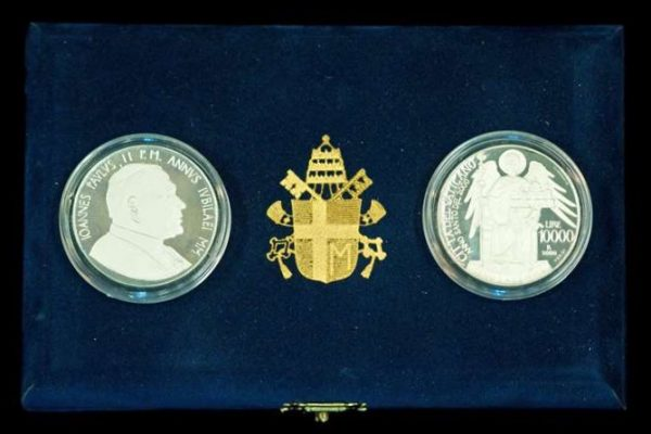 Pope John Paul II: Two Coins Commemorating the Jubilee Year,  2000