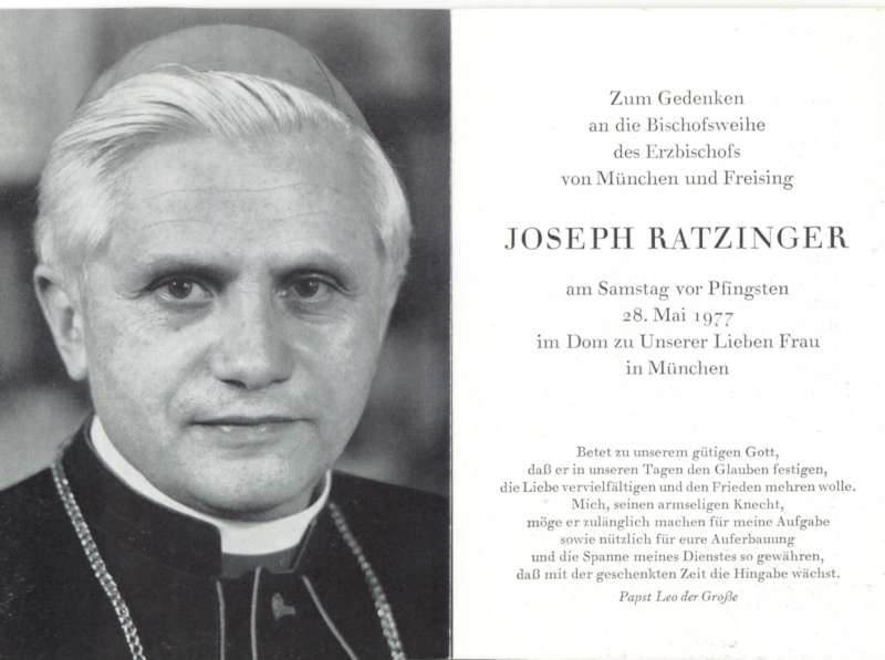 Back of Holy Card Commemorating Joseph Ratzinger Being Named Archbishop of Munich by Pope Paul VI