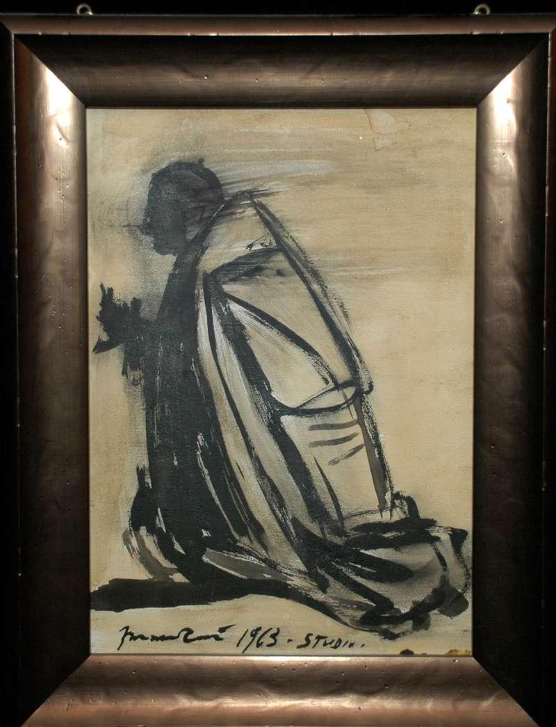 Original Charcoal Sketch by Giacomo Manzu From 1963, Signed