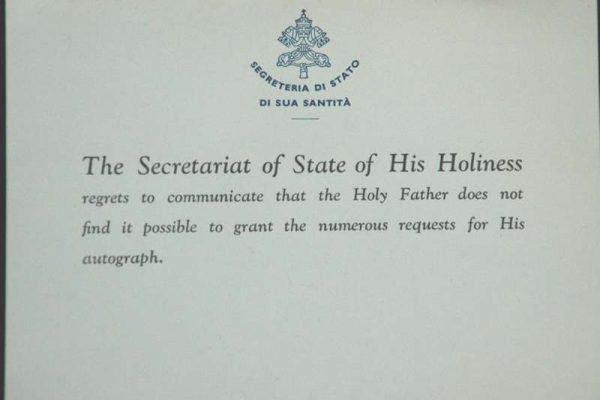 Index Card  From the  Secretary of State of Pope John XXIII